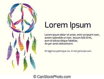 fogójátékos, színes, álmodik, feathers., béke cégtábla, elkészített, sablon, transzparens, pacific.