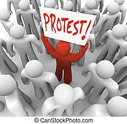 fog, aláír, tiltakozás, mozgalom, bizonyítás, cserél, ember