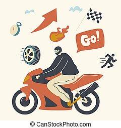 fog, gyülekezik, sisak, rész, lovaglás, gyorsaság, fárasztó, lovagi torna, versenyzés, bringás, concept., betű, hím, motorkerékpár, motokrossz