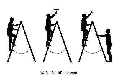 fog, háttér, ő, fehér, elszigetelt, ember, körvonal, fekete, fal, létra, -, craftsman., vektor, állhatatos, fest