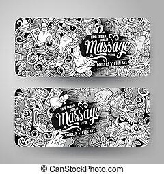 fogadószoba, karikatúra, 2, doodles, horizontal lobogó, masszázs