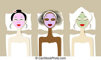 fogadószoba, maszk, kozmetikai, meglehetősen, arc, ásványvízforrás, nők