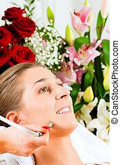 fogadószoba, nő, felfogó, kozmetikai, arcápolás