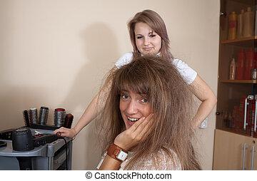 fogadószoba, nők, haj