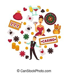 fogad, piszkavas kockázás, ikonok, rulett, poszter, kaszinó, vagy, játék, vektor, hazárdjátékot játszik kicsorbít, kártyázás
