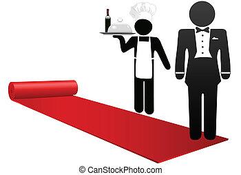 fogadtatás, emberek, hotel, vendégszeretet, szőnyeg, tekercs, piros, ki