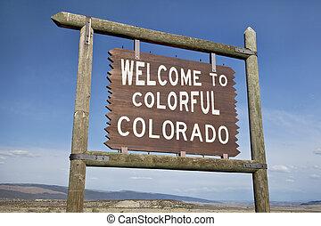 fogadtatás, országúti, colorado, aláír