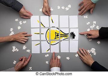 fogalmi, csapatmunka, ötletvihar