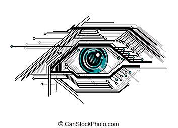fogalmi, stilizált, tech, szem
