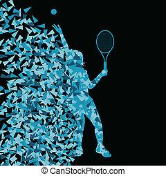 fogalom, árnykép, poszter, tenisz, háromszögű, ábra, sport, játékosok, vektor, háttér, aktivál, felrobbanás, szétreped, elkészített