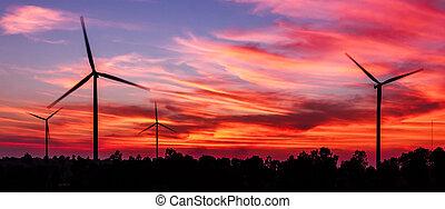 fogalom, árnykép, szürkület, energia, kitakarít, turbina, felteker