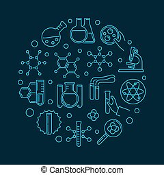 fogalom, áttekintés, ábra, vektor, kémia, kör alakú