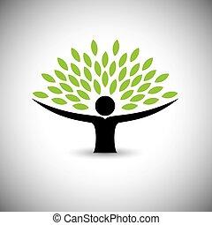 fogalom, életmód, emberek, eco, -, természet, fa, vector., átkarolás, vagy