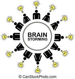 fogalom, ötletvihar, gondolat, birtoklás, emberek