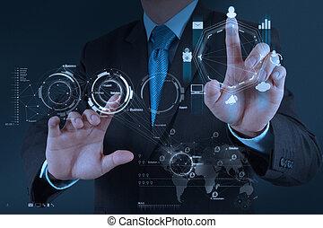 fogalom, ügy, dolgozó, modern, kéz, számítógép, üzletember, új, stratégia