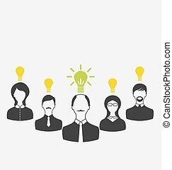 fogalom, ügy emberek, fény, idea., vezetés, új, b betű