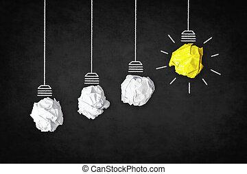 fogalom, ügy, fény, jelkép, -, gondolat, kreatív, gumó, ihlet