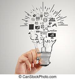 fogalom, ügy, fény, kéz, gumó, rajz, stratégia, kreatív