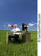 fogalom, ügy, mező, zöld, használ, hangszóró, ember