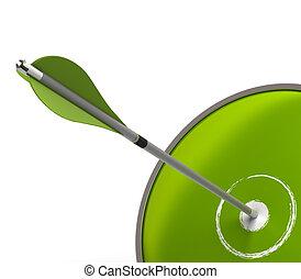 fogalom, ügy, siker, jelkép, nyíl, egy, zöld háttér, fehér, felett, céltábla