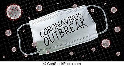 fogalom, 3, coronavirus, kitörés, ábra, -