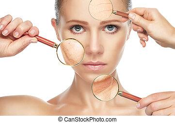 fogalom, aging., folyamat, szépség, emelés, arcápolás, bőr, anti-aging, rögzít, megfiatalodás