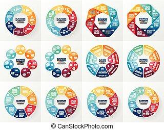 fogalom, alkatrészek, elvont, processes., set., ábra, háttér., 7, infographics, 8, bemutatás, mintalécek, ügy, opciók, gyűjtés, biciklizik, ábra, kerek, chart., vektor, lépések, vagy
