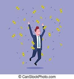 fogalom, anyagi siker, ügy, sikeres, pénz, ugrás, dobás, gazdag, üzletember, ember