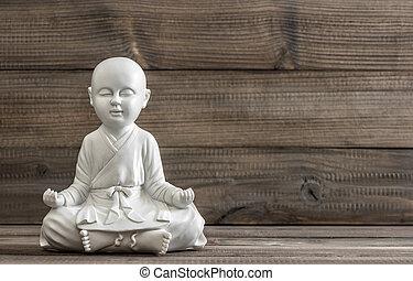 fogalom, bágyasztó, ülés, statue., fehér, buddha.