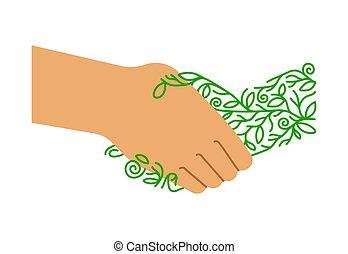 fogalom, barátságos, ráz, eco, zöld, emberek, kéz
