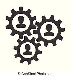 fogalom, bekapcsol, emberek, ikonok, szerkezet, csapatmunka