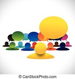 fogalom, beszéd, &, empl, menedzser, vektor, tagok, gyűlés, vezető