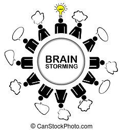fogalom, beszerez, gondolat, csapatmunka, ötletvihar, fejteget