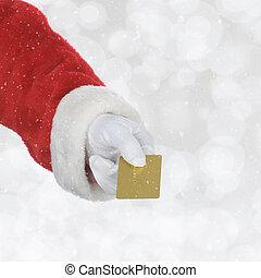 fogalom, bevásárlás, arany, hétfő, santas, kibernetikai, kéz, hitel, /, ünnep, card.