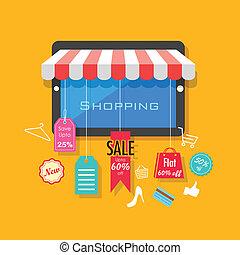 fogalom, bevásárlás, kiárusítás, online