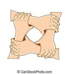fogalom, birtok, -, vagy, vektor, teamwork., sablon, kézbesít, karika, design., barátság, -e, illustration.