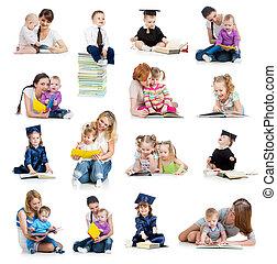 fogalom, book., vagy, korán, gyerekek, gyűjtés, kisbabák, childhood., oktatás, felolvasás