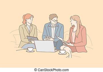 fogalom, coworking, gyűlés, tárgyalás, ügy, vita