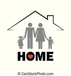 fogalom, család, pictogram, tető, alatt, otthon