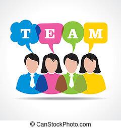 fogalom, csapatmunka, messag, emberek