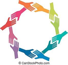 fogalom, csoport, ó, emberek, csapatmunka, kézbesít, circle.