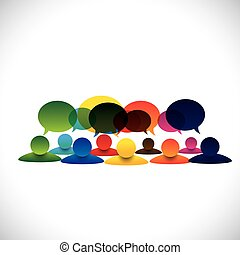 fogalom, csoport, emberek társalgás, vektor, munkavállaló, megbeszélések, vagy