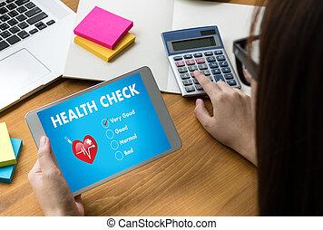 fogalom, dolgozó, orvos, orvosi, healthcare, számítógép, egészség, digitális, határfelület, ellenőriz