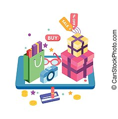 fogalom, e-commerce, vektor, ábra