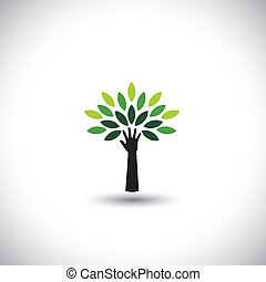 fogalom, &, eco, -, zöld, fa, kéz, vektor, zöld, emberi, ikon