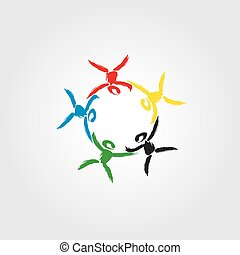 fogalom, egyesítés, közösség, jel, szolidaritás, gyerekek, társ