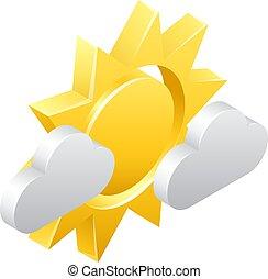 fogalom, elhomályosul, nap, időjárás, 3, ikon