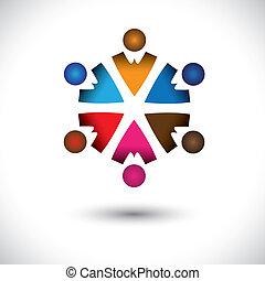 fogalom, elvont, együtt, elfoglaltság, children(kids), épület, circle-, csoport, ikonok, gyerekek, is, graphic., barátság, színes, ábra, őt előad, ez, multi-color, s a többi, vektor, befog, játék