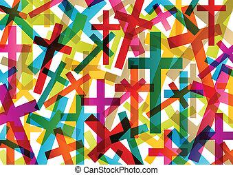 fogalom, elvont, kereszt, kereszténység, vallás, vektor, háttér