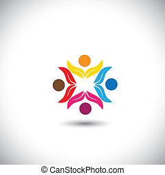 fogalom, emberek, csapatmunka, együtt, gyerekek, -, befog, is, karika, barátság, eco, ikonok, egység, grafikus, szolidaritás, barátok, őt előad, gyerekek, ez, játék, vektor, móka, icon., birtoklás
